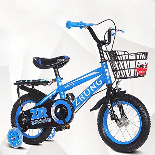 SXZHSM-Kinderfietsen Kinderfiets 14-Inch Kinderfiets 3-5-jarige Baby Bike Hoog koolstofstaal Wandelwagen, Rood/blauw/groen (Kleur : Paars)