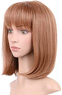 """15""""Natural Straight Bob Full Wigs for Black Women 100% Synthetic Fiber Heat Resistant for Daily Use Cosplay Christmas Party Anime Costume (Auburn Ginger 472)"""