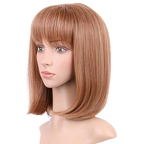 S-noilite Synthetic Wigs Straight Fluffy Hair Curly Spiky Wig with Bang for Boys Girls Heat Resistant Cosplay Wig for Halloween Christmas Party Anime Costume 15'(Auburn Ginger)