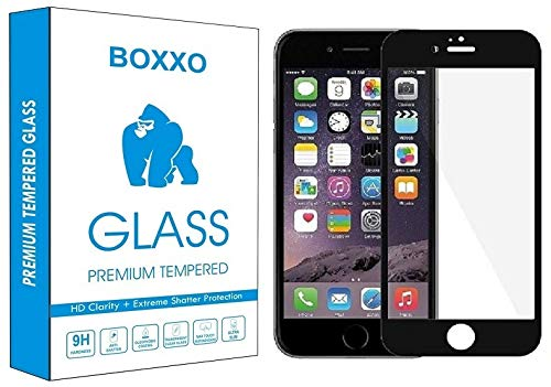 Boxxo |For Apple iPhone 6 Plus | Tempered Glass Screen Protector Guard | Full Glue Curved Tempered Glass | Bubble Free Installation | Gorilla - Black