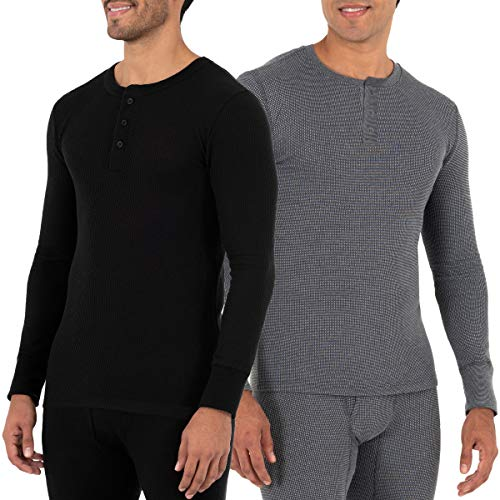 Fruit of the Loom Men's Recycled Waffle Thermal Underwear Henley Top (1 and 2 Packs), Black/Greystone Heather, Large