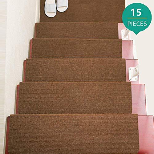 Jolitac 15 Stück Stufenmatten Treppenmatten Treppenteppich Set Stufenschutz für Ihre Treppe Stufen Treppenstufen rutschfest Matten Selbstklebende Teppich Rechteckig Kafffee 65x22cm