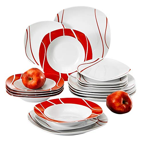 MALACASA, Series Felisa, 18-Piece Dinner Sets Red Stripes Ivory White Porcelain Dinner Service Set with 6-Piece Dessert Plates 6-Piece Soup Plates and 6-Piece Dinner Plates