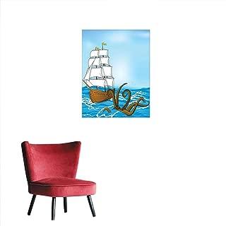 Yahonwa Kraken Decor Light Luxury Oil Painting, Old Sailing Ship in Waves and Kraken Adventure Journey Travel Graphic Image Frameless Wall Painting Living Room Decor, 24