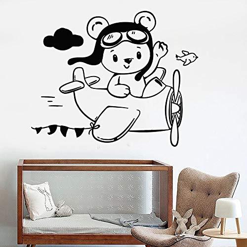 Tianpengyuanshuai Beer muurstickers piloot vliegtuig kinderkamer kinderen slaapkamer home decoratie vinyl venster stickers