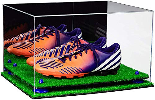 Better Display Cases Acrylic Shoe Pair Display Case - Large Rectangle Box with Mirror, Navy Blue Risers and Turf Base 15.25' x 12' x 9' (V13/A082)