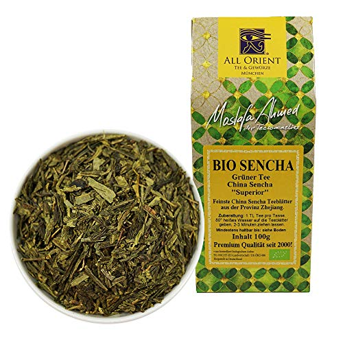 All Orient BIO Sencha | 100g | Grüner Tee lose | China Sencha Superior | Provinz Zhejiang | Grünteemischung | Naturbelassen | Ohne Zusatz von Aromen