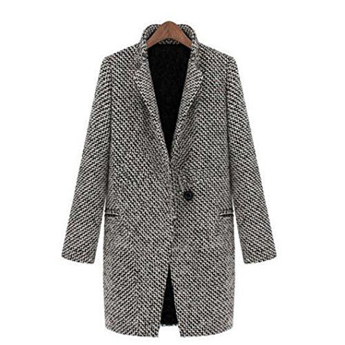 ManxiVoo Women Winter Coats Slim Fit Warm Wool Lapel Long Coat Trench Parka Jacket Overcoat Outwear (M)