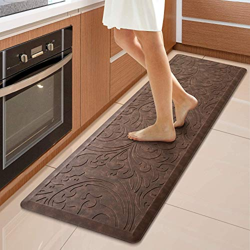 KMAT Kitchen Mat Cushioned Anti-Fatigue Floor Mat Waterproof Non-Slip Standing Mat Ergonomic Comfort Floor Mat Rug for Home,Office,Sink,Laundry,Desk 17.3' (W) x 60'(L),Brown