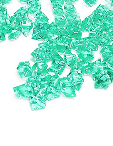 DomeStar Teal Fake Crushed Ice Rocks, 150 PCS Fake Diamonds Plastic Ice Cubes Acrylic Clear Ice Rock Diamond Crystals Fake Ice Cubes Gems for Home Decoration Wedding Display Vase Fillers
