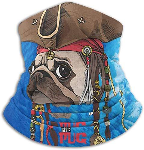 Unisex Pirate Pug Poster Winter Fleece Neck Warmer Gaiters Haarband Koud Weer Tube Gezicht Masker Thermische hals Sjaal Outdoor UV Bescherming Party Cover Zwart