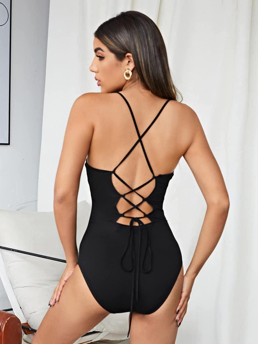 JYMBK Lace Jumpsuit Lace-up Open Back Cami Bodysuit (Color : Black, Size : XL)