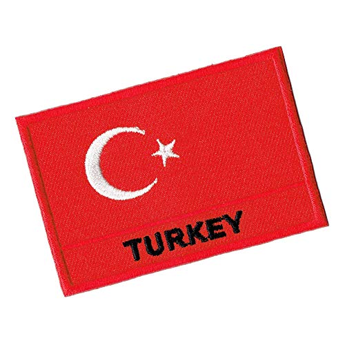 Lucky Patches, Aufnäher, Iron on Patch, Applikation, Fahne, Flagge, Wimpel - Turkey, Türkei, Republik Türkei - 7 x 5 cm