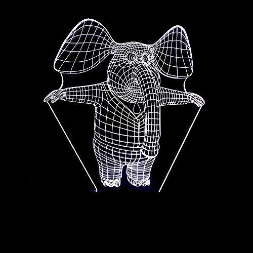 Elephant 3D 7 Colorful Nightlight Visual 3D Night Light Luminaria Led USB Kids Lamp Powerbank Led Table Lamp