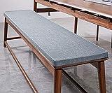 Cojín para banco de jardín, 2 plazas, 90/100/120/cm, cojín de banco antideslizante para interiores y exteriores, cocina (140 x 40 x 3 cm), color gris