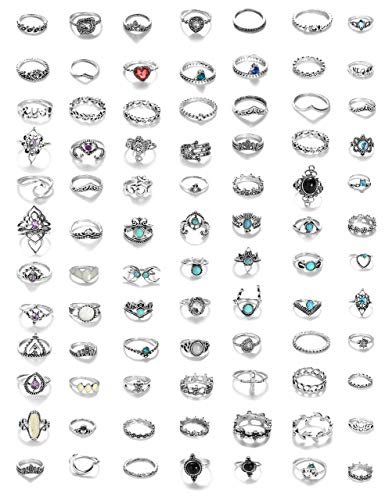 Milacolato 84 Pcs Midi Ring Bohemian Knuckle Ring Sets Fashion Finger Vintage Silver Stackable Rings for Women Girls Knuckle Midi Rings