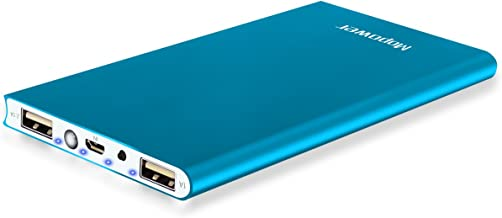 Mopower 10000mAh Portable Charger,Ultra Slim Power Bank Aluminum Metal External Backup Battery Pack for iPhone 7 4 5S 4S, iPad,Galaxy S6 Note 5, iPod,HTC,Sony,LG, Mobile Digital Devices (Blue)