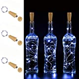 AnSaw USB Powered 20LED Wine Bottle Cork Lights 3 Pack Rechargeable Bottle String Lights Bottle Starry Fairy Home Twinkle Decorative Lights for Party, Christmas, Halloween,Wedding (Cool White)