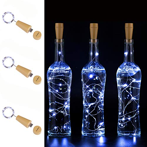 USB Powered 20LED Wine Bottle Cork Lights , AnSaw 3 Pack Rechargeable Bottle String Lights Bottle Starry Fairy Home Twinkle Decorative Lights for Party , Christmas, Halloween ,Wedding (Cool White)