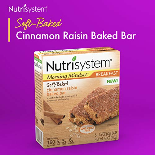 Nutrisystem Cinnamon Raisin Baked Bars Pack, 30 Count - Ready to Eat Meal Replacement Breakfast Bars to Support Healthy Weight Loss