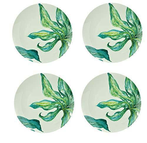LA VITA VIVA Kleine Porzellanteller Ø20,5cm Salatteller Frühstücksteller Dessertteller Vorspeisenteller 4er-Set mit orientalischen Blattmotiven Design Green Love