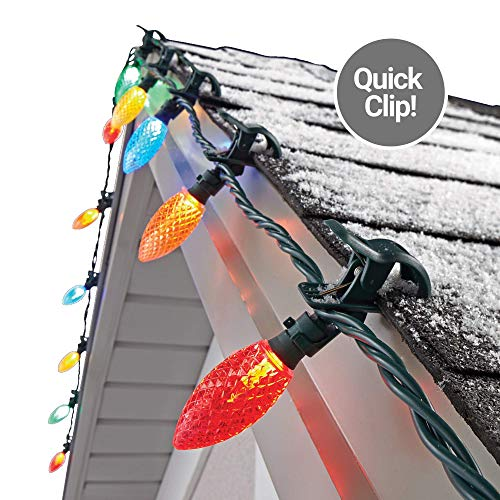 NOMA C9 LED Quick Clip Christmas Lights | Simple Built-in Clip-On Outdoor String Lights | Multi-Color Bulbs | UL Certified | 25 Light Set | 16.8 Foot Strand