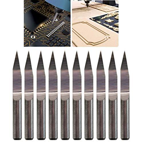 CESFONJER 10 pcs 20 ° 0,2mm Grabado de Carburo Conjunto de Brocas para Fresar Herramientas Rotativas Kit de Surtido para Maquinaria CNC Tablero de PCB Tallado Perforación Fresado Marcado Acero
