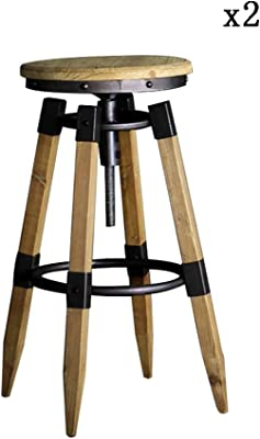 ZR- Bar Stool, 360° Rotation/76-86cm Height Lift Wrought Iron