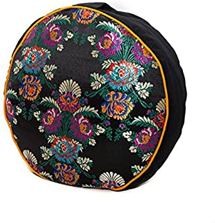 Kathmandu Yogi Zafu Meditation Yoga Buckwheat Filled Fair Trade Silk and Organic Cotton Pillow Cushion with Exclusive Premium Designs (Choose Your Design & Color)