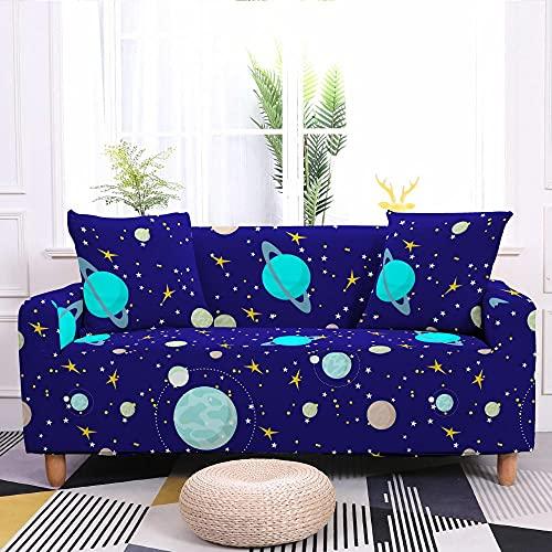 Fundas Sofas 3 y 2 Plazas Ajustables Planeta Azul Pavo Real Fundas para Sofa Ajustables Funda Sillon Spandex Lavables Cubre Sofas Chaise Longue Modernas Funda Sofá Universal Fundas de Sofa Espesas