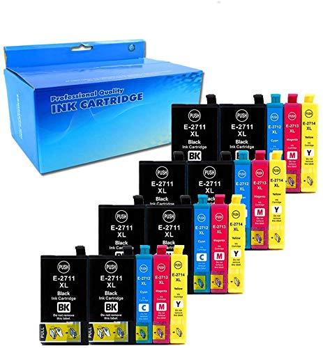 Teland 27XL - Cartuchos de tinta para Epson Workforce WF-3620 WF-3640 WF-7110 WF-7610 WF-7620 WF3620 WF3640 WF7110 WF7610 WF7620 (8 negro, 4 cian, 4 magenta, 4 amarillo)