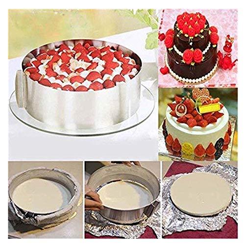 Mytobang Rétractable Moule Cercle à Gâteau Rond en Acier,Cadre pâtisserie Ø de 16 cm à 30 cm,idéal pour créer et décorer des gâteaux et des pâtisseries ǀ en Acier Inoxydable