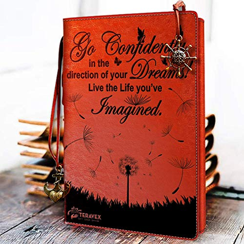 2019 Graduation Gifts for Her - Go Confidently in The Direction of Your Dreams Refillable Writing Journal Leather Cover Notebook Travel Diary Inspirational Gift for Bloggers Teachers Back to College