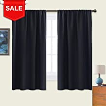 NICETOWN Black Blackout Curtain Blinds - Solid Thermal Insulated Window Treatment Blackout Drapes/Draperies for Bedroom (2 Panels,42 inches Wide by 63 inches Long,Black)