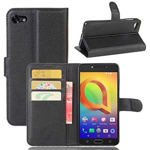 Tasche für Alcatel A5 Led (5.2 zoll) Hülle, Ycloud PU Ledertasche Flip Cover Wallet Hülle Handyhülle mit Stand Function Credit Card Slots Bookstyle Purse Design schwarz