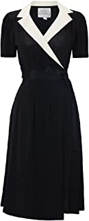 Seamstress Of Bloomsbury Classic 1940s Black/Cream Peggy Wrap Dress