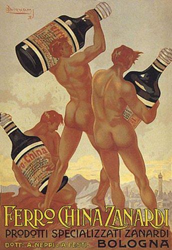 "DRINKING DRINK NUDE MEN FERRO CHINA ZANARDI BOLOGNA ITALIA ITALY ITALIAN 11"" X 16"" VINTAGE POSTER REPRO"