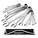 GEARDRIVE Flex-Head Ratcheting Combination Wrench Set, SAE, 13-piece, 5/16'' to 1'', Chrom...