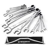 GEARDRIVE Flex-Head Ratcheting Combination Wrench Set, SAE,...