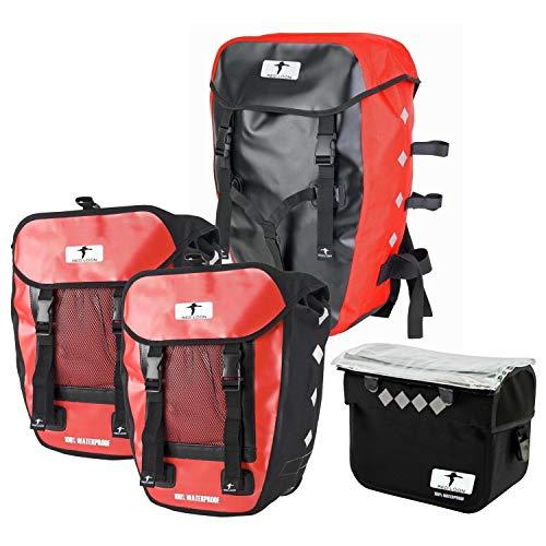 Red Loon Pro 3fach Packtasche + Lenkertasche Gepäckträgertasche Fahrradtasche, Farbe:rot, Herstellernummer:VDP64135_4