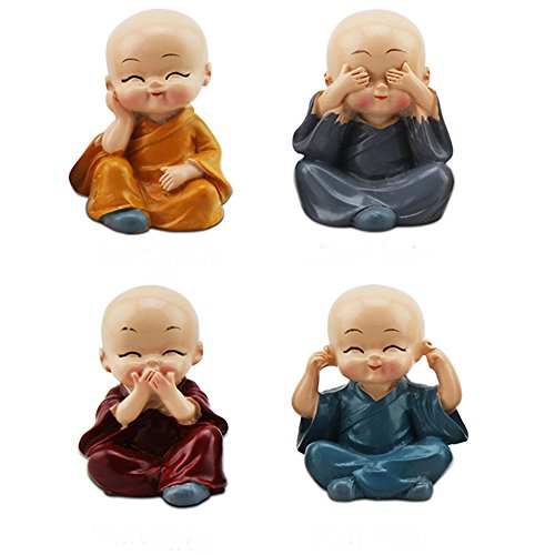 TATEELY 4Pcs/Set Car Ornaments Resin Monks Maitreya Buddha Kung Fu Buddhism Figure Doll Gift Auto Dashboard Decoration Pendants Charms Toy Gift