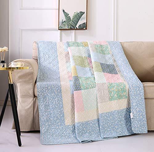 ETDWA Manta de Tiro Acolchada, 100% algodón, Colcha de Retazos, Suave y Liviana, para sofá, sofá Cama, Individual (Azul, 150x200cm)