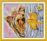 Kits de punto de cruz estampados Perro jugando al escondite Principiante para adultos gama completa bricolaje artesanía 15X19 pulgadas / 40X50CM 11CT suministros