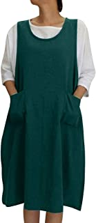 Sleeveless Soft Cotton Linen Apron Pinafore Dress, Japanese Style Halter Apron with Two Side Pockets, Clothes Gift for Women DIY Project, Crafting, Baking, Cooking
