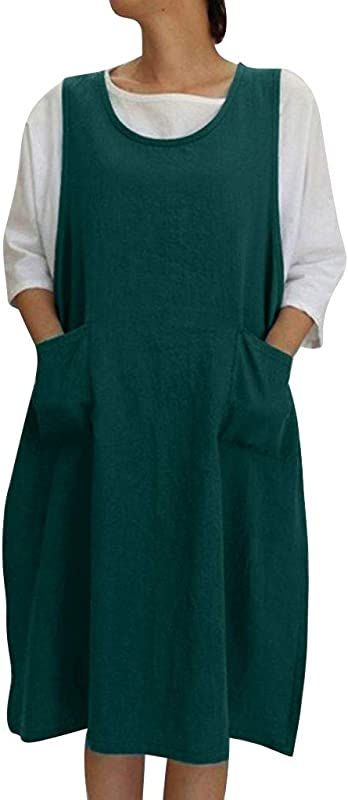 Sleeveless Soft Cotton Linen Apron Pinafore Dress Japanese Style Halter Apron With Two Side Pockets Clothes Gift For Women DIY Project Crafting Baking Cooking