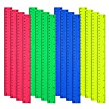 16 Piezas Reglas de plástico transparente 30cm flexible regla recta, 4 colores