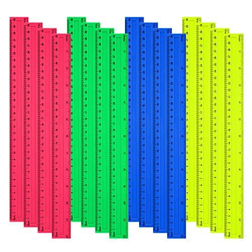 16 Stück Farbige Lineale 30cm Fexibles Transparente Lineal zum Basteln, Schulbedarf, Office, Messlineal