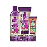 Aussie SOS Deep Treatment Shampoo und Conditioner Set, Behandlung für schwaches und geschädigtes...