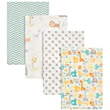Mint Jungle 4 Pack 100% Cotton Flannel Baby Receiving Blankets - Safari Animal Theme