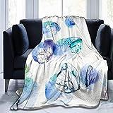 Ngxianbaimingj Manta de franela, hermosa tinta acuarela mariposa borde cosido acogedoras mantas, felpa térmica portátil alfombra para cama sofá 160 x 50 pulgadas
